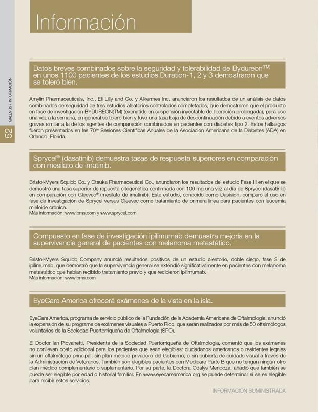Información: Novedades farmacéuticas y médicas