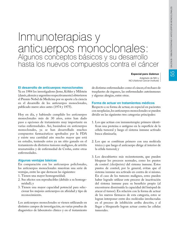 Inmunoterapias y anticuerpos monoclonales