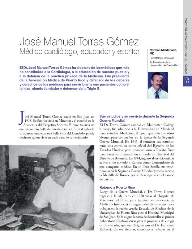 Historia de la Medicina de Puerto Rico: José Manuel Torres Gómez