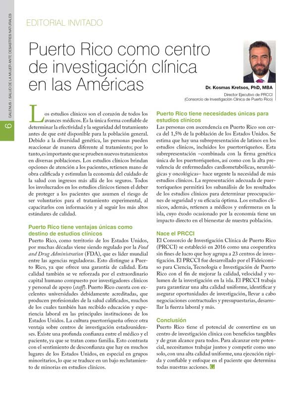 Puerto Rico como centro de investigación clínica  en las Américas