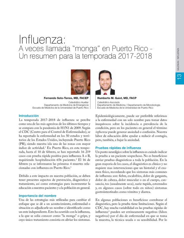 """Influenza: A veces llamada """"monga"""" en Puerto Rico"""