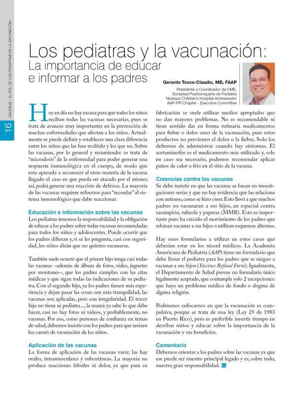 Los pediatras y la vacunación