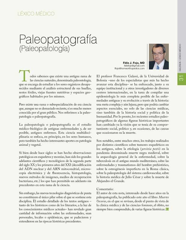 Léxico Médico: Paleopatografía (Paleopatología)