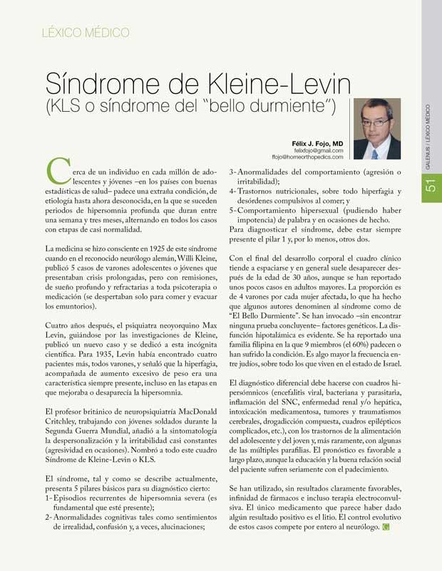 Léxico Médico: Síndrome de Kleine-Levin