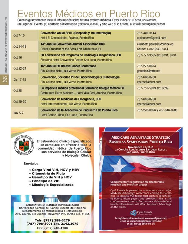 Calendario de eventos médicos en Puerto Rico