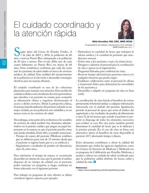 El cuidado coordinado y  la atención rápida