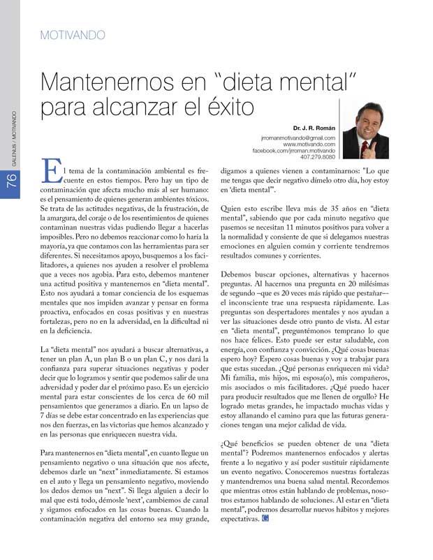 """Motivando: Mantenernos en """"dieta mental""""  para alcanzar el éxito"""