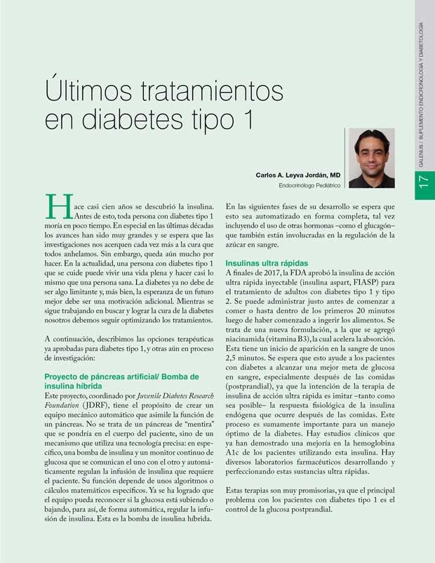 Últimos tratamientos  en diabetes tipo 1