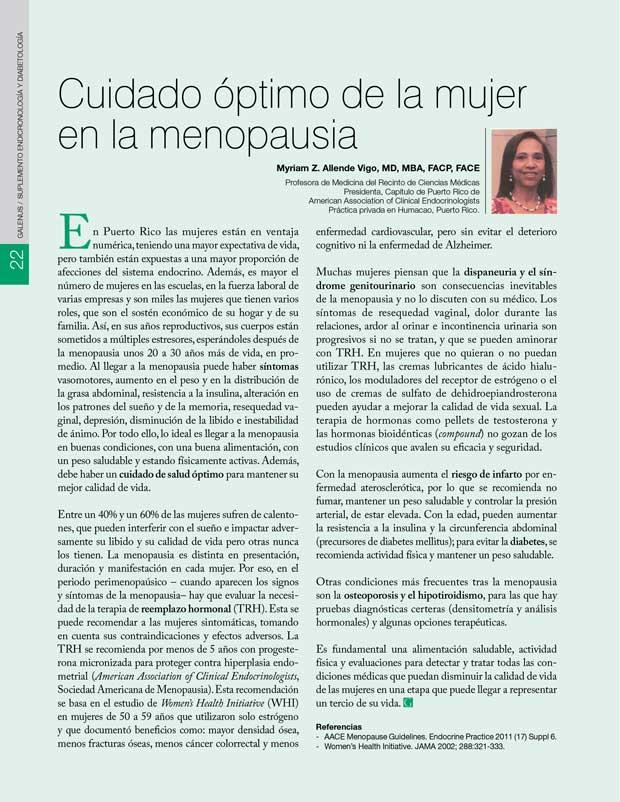 Cuidado óptimo de la mujer  en la menopausia