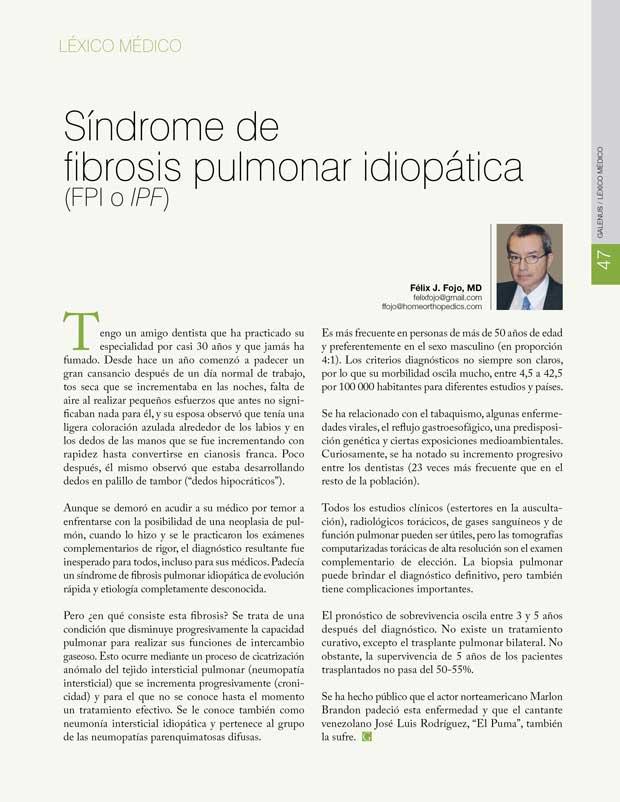 Léxico Médico: Síndrome de  fibrosis pulmonar idiopática