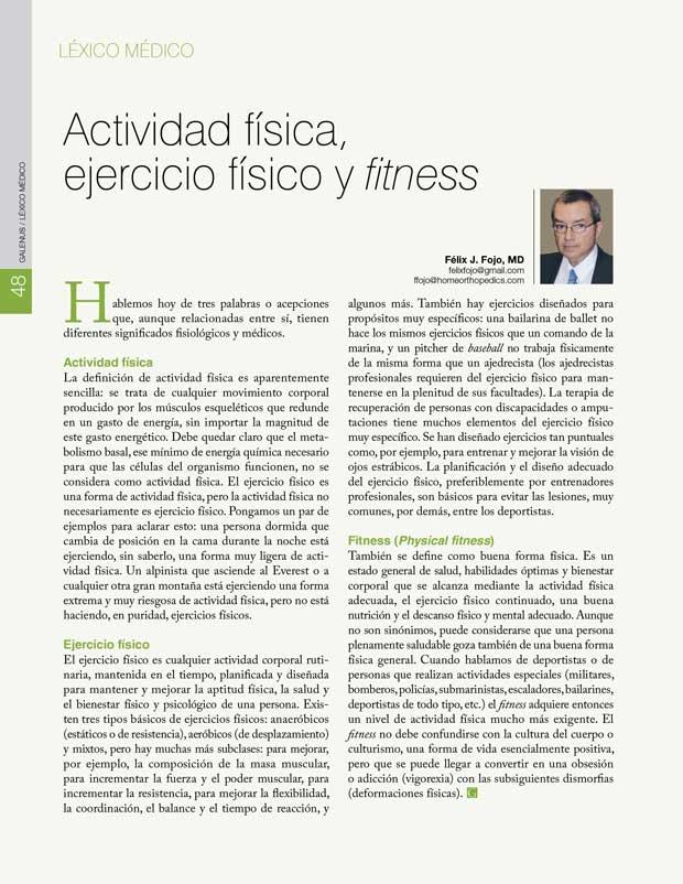Léxico Médico: Actividad física, ejercicio físico y fitness