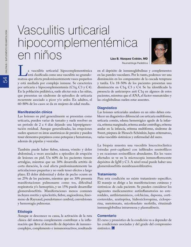 Vasculitis urticarial hipocomplementémica  en niños