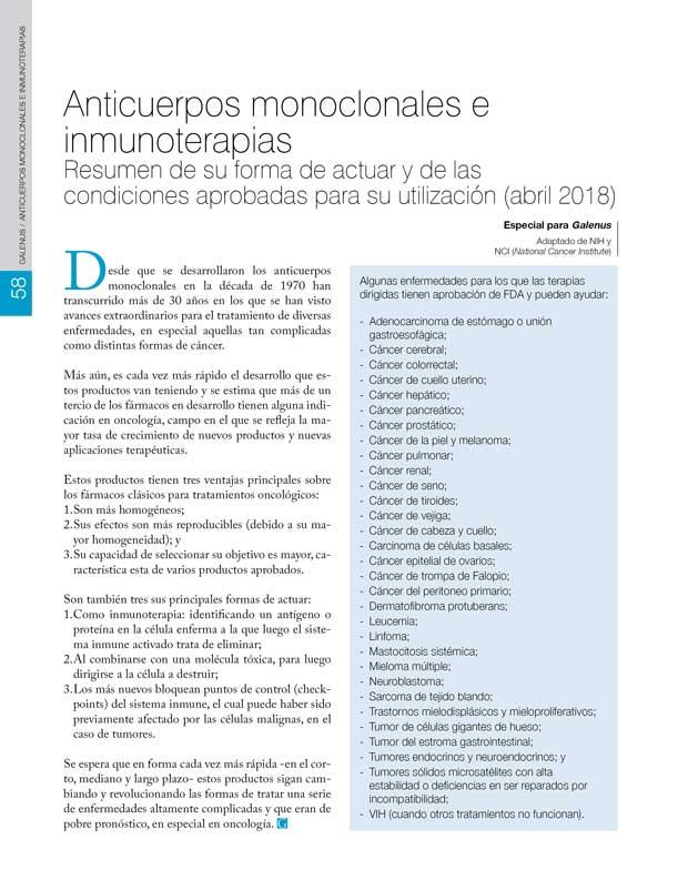 Anticuerpos monoclonales e inmunoterapias
