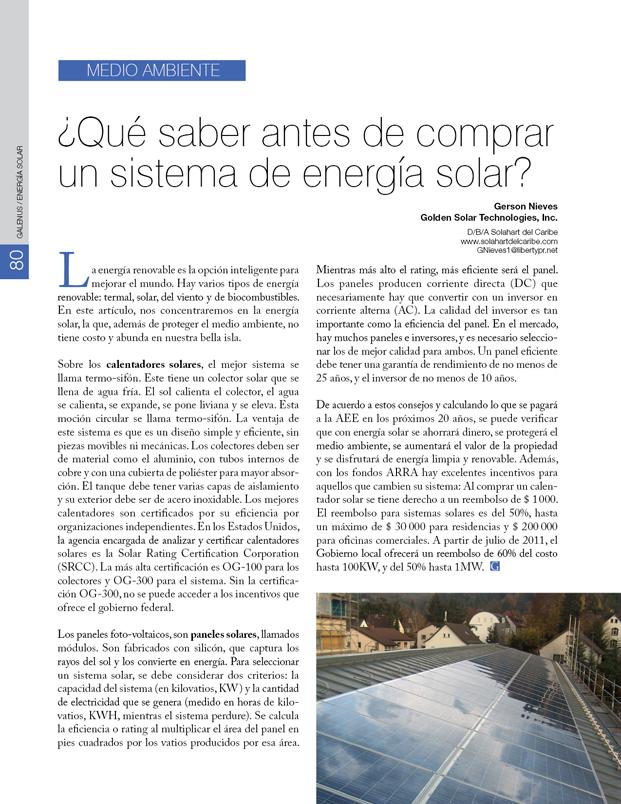 Medio ambiente: Antes de comprar un equipo de energía solar