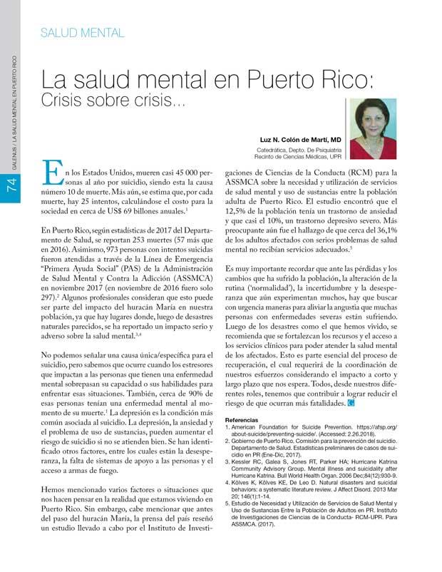 La salud mental en Puerto Rico