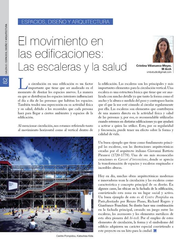 Espacios, diseño y arquitectura: El movimiento en las edificaciones: Escaleras y salud