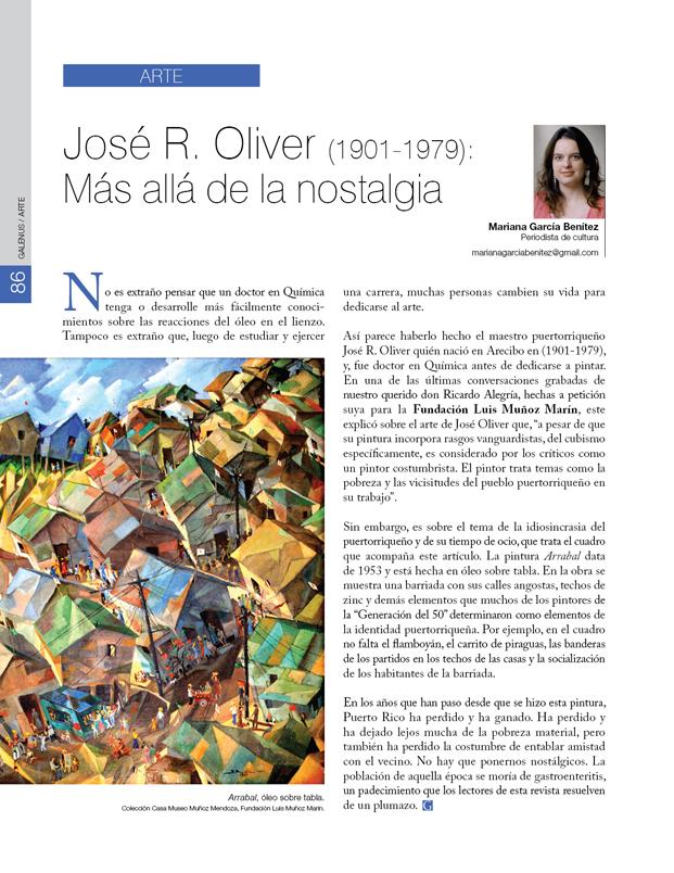 Arte: José R. Oliver: Más allá de la nostalgia