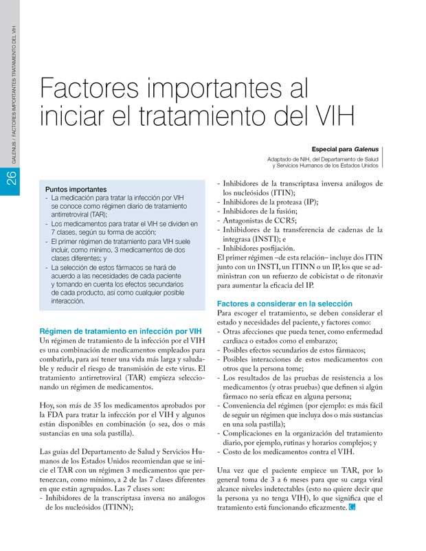 Factores importantes al  iniciar el tratamiento del VIH