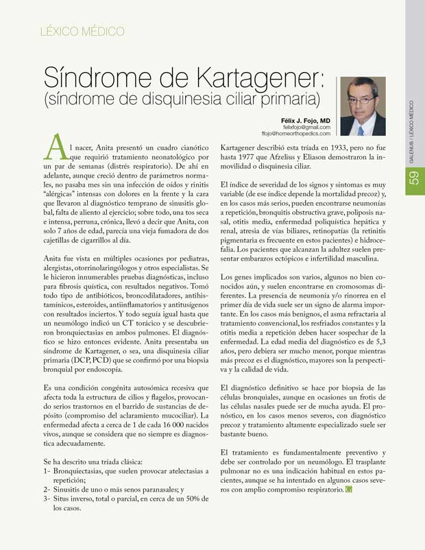 Léxico Médico: Síndrome de Kartagener