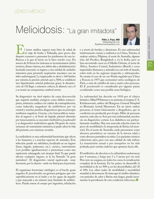 """Léxico Médico: Melioidosis: """"La gran imitadora"""""""