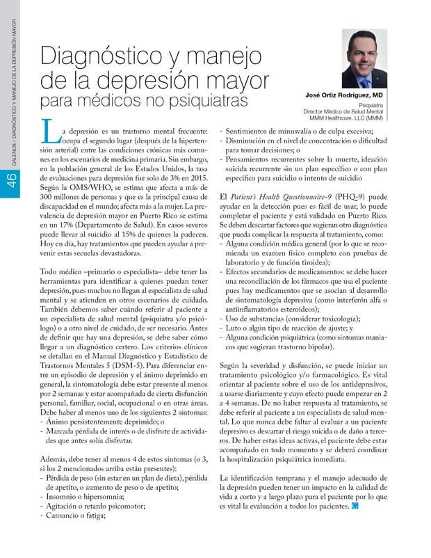 Diagnóstico y manejo de la depresión mayor