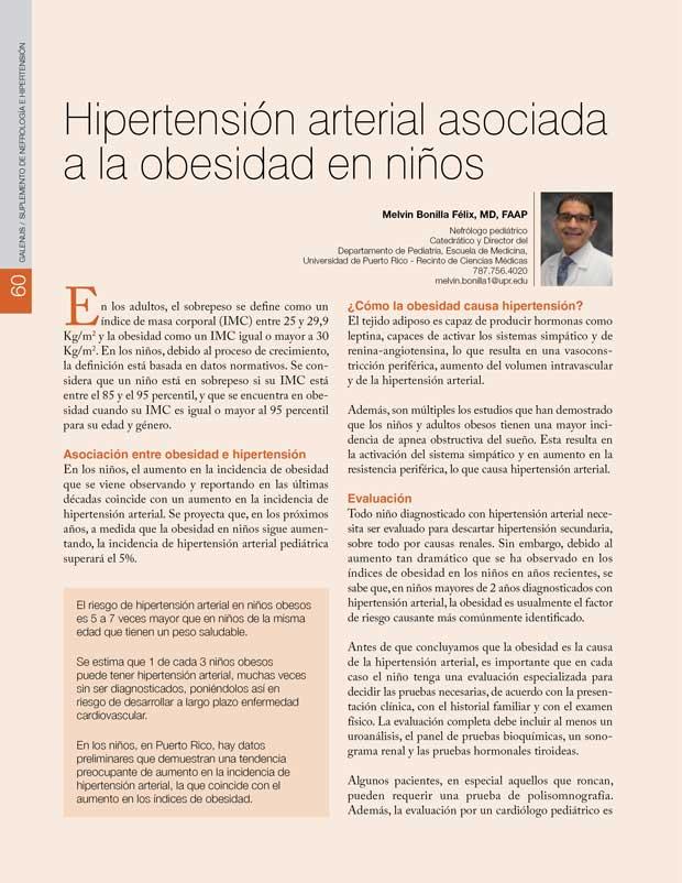 Hipertensión arterial asociada  a la obesidad en niños