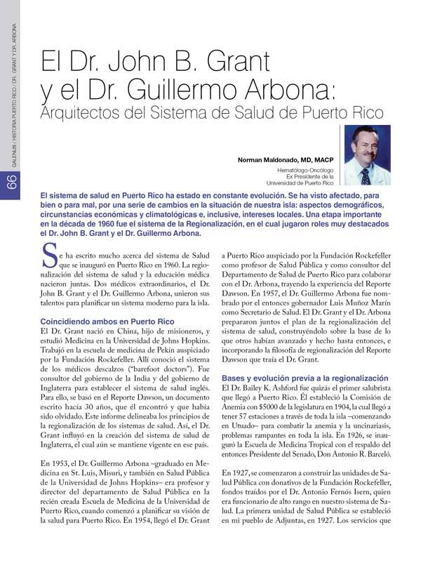 Historia: El Dr. John B. Grant  y el Dr. Guillermo Arbona