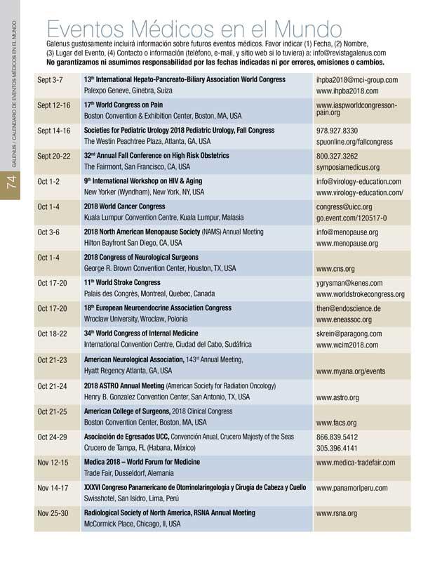 Calendario Eventos Médicos en el Mundo