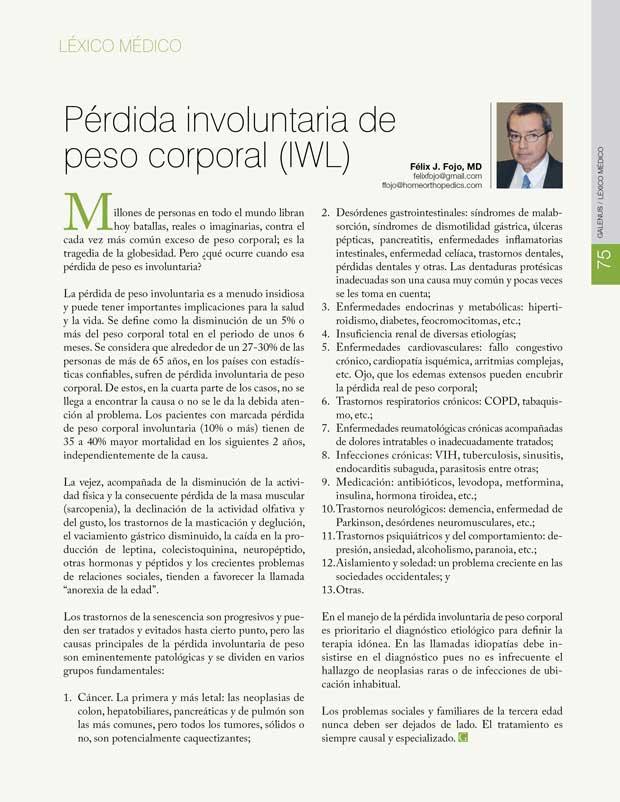 Léxico Médico: Pérdida involuntaria de peso corporal (IWL)