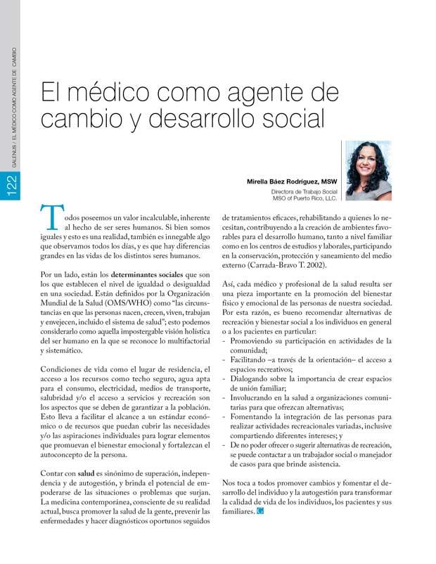 El médico como agente de  cambio y desarrollo social