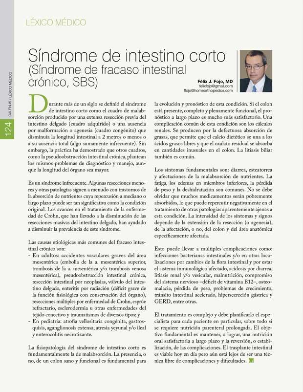 Léxico Médico: Síndrome de intestino corto
