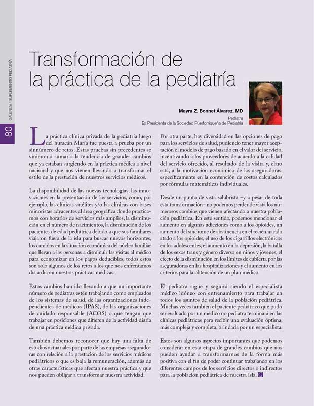 Transformación de  la práctica de la pediatría
