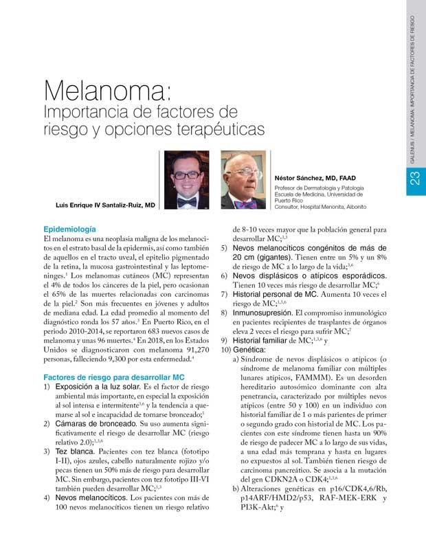 Melanoma: Importancia de factores