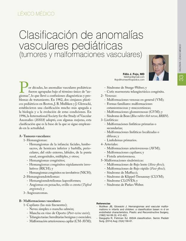 Léxico Médico: Clasificación de anomalías  vasculares pediátricas