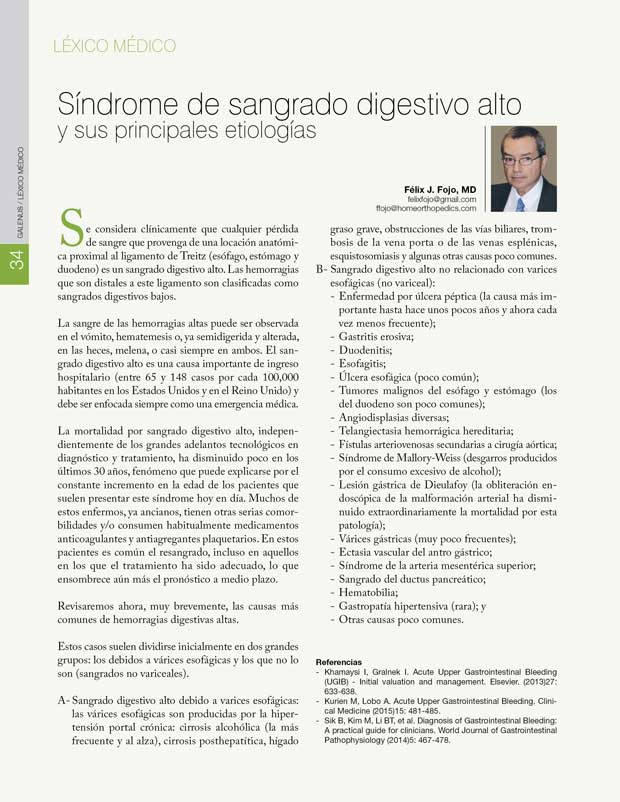 Léxico Médico: Síndrome de sangrado digestivo