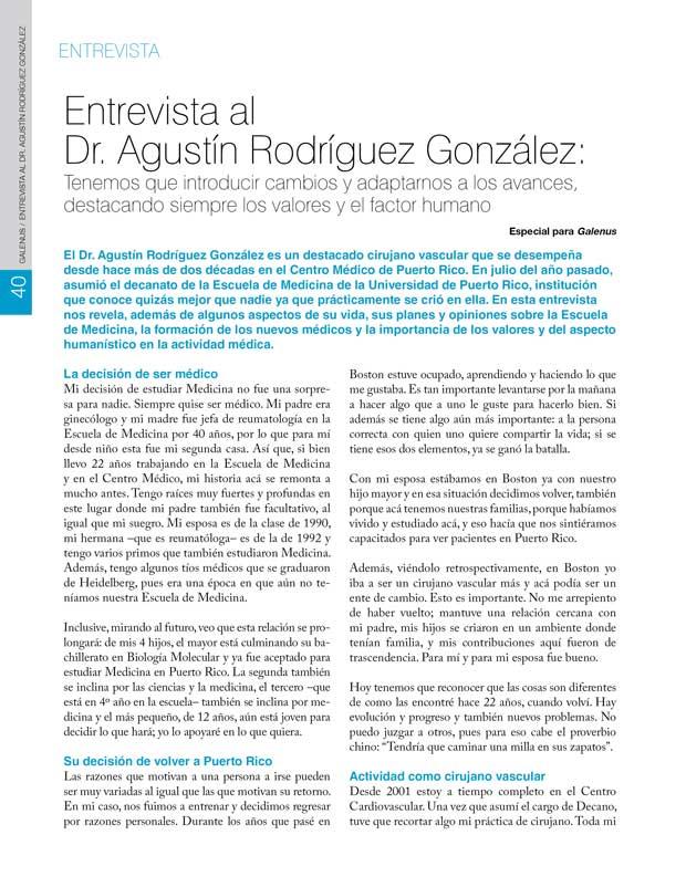 Entrevista: Dr. Agustín Rodríguez González