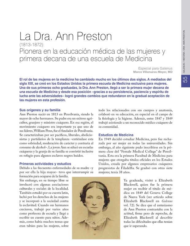 Historia: Dra. Ann Preston