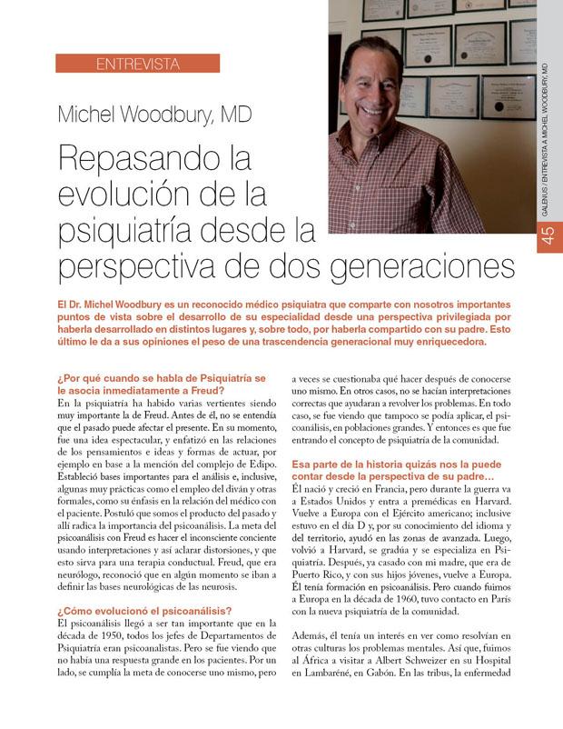 Entrevista a Michel Woodbury, MD: Repasando la  evolución de la psiquiatría desde la perspectiva de dos generaciones
