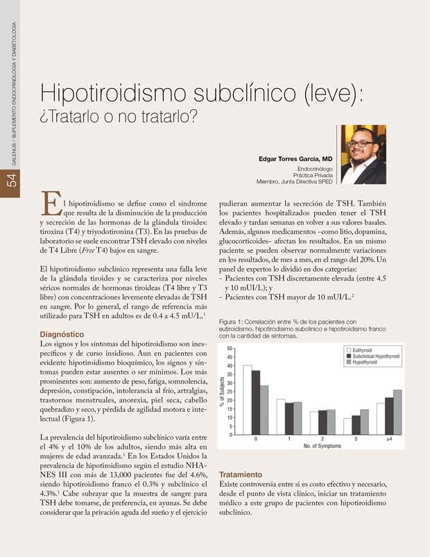 Hipotiroidismo subclínico (leve)