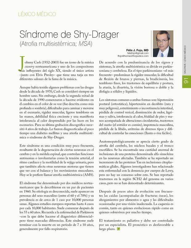 Léxico Médico: Síndrome de Shy-Drager