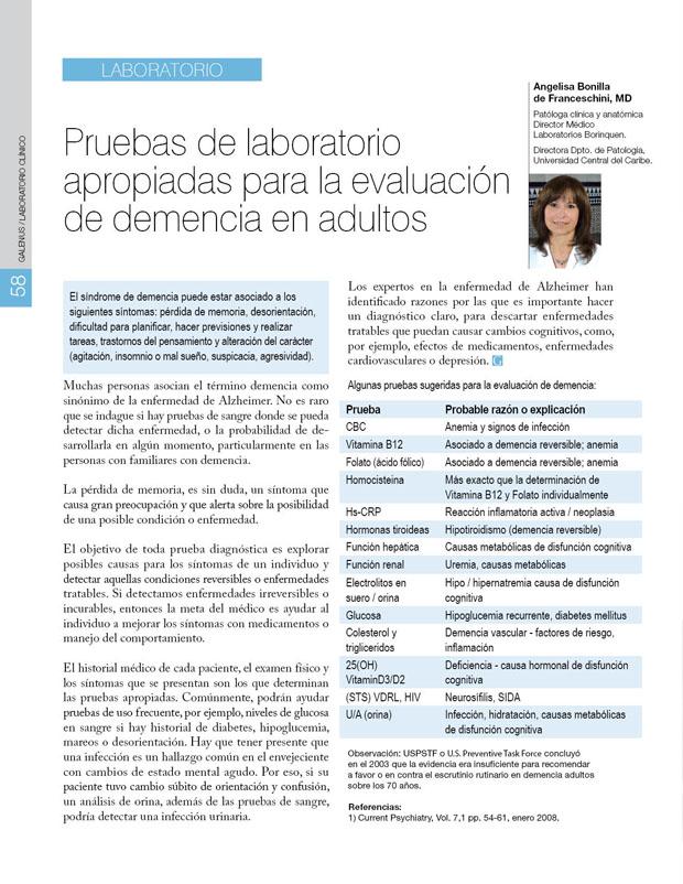 Laboratorio: Pruebas de laboratorio apropiadas para la evaluación de demencia en adultos