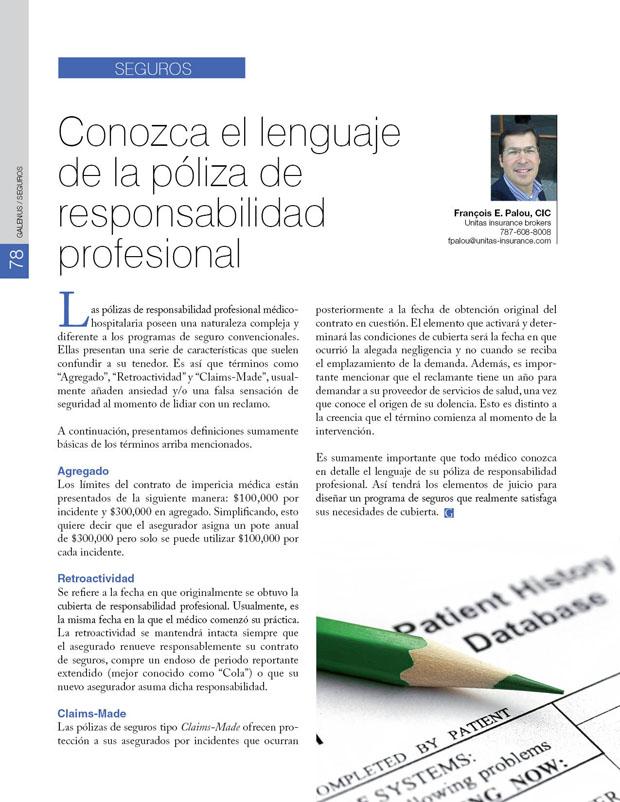 Seguros: Conozca el lenguaje de la póliza de responsabilidad profesional