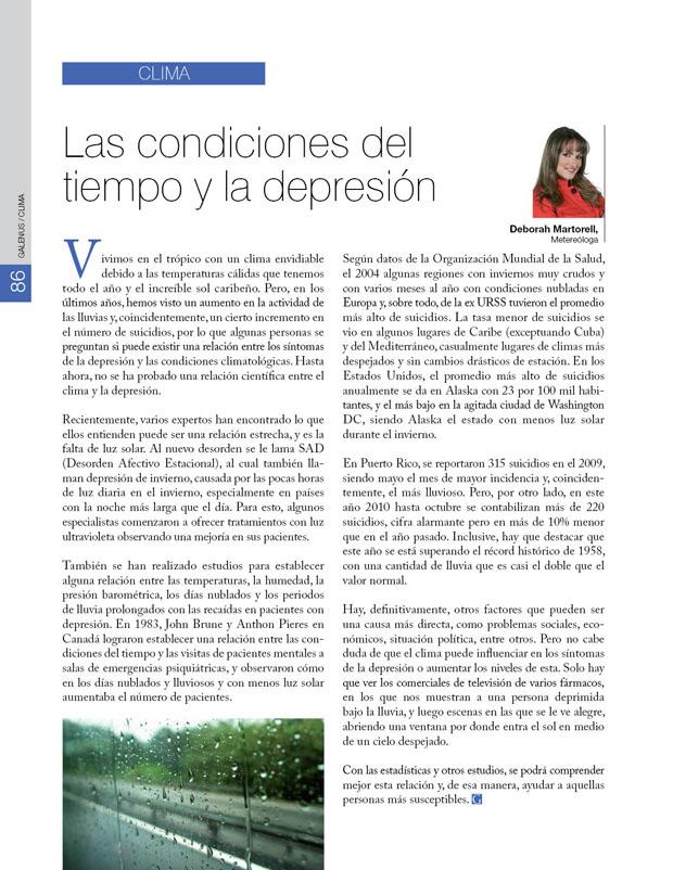 Clima: Las condiciones del tiempo y la depresión