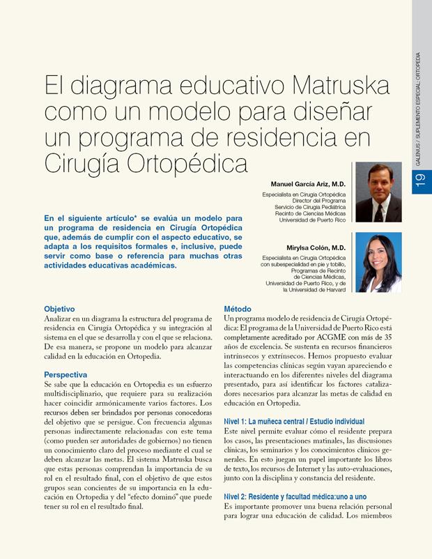 El diagrama educativo Matruska  como un modelo para diseñar un programa de residencia en Cirugía Ortopédica