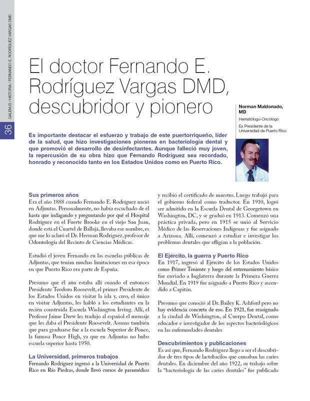 Historia / Fernando E. Rodríguez Vargas DMD