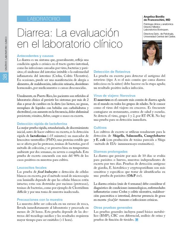 Laboratorio Clínico / Diarrea: La evaluación en el laboratorio clínico