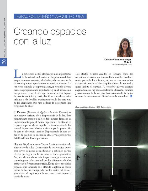 Espacios, Diseño Y Arquitectura / Creando espacios  con la luz