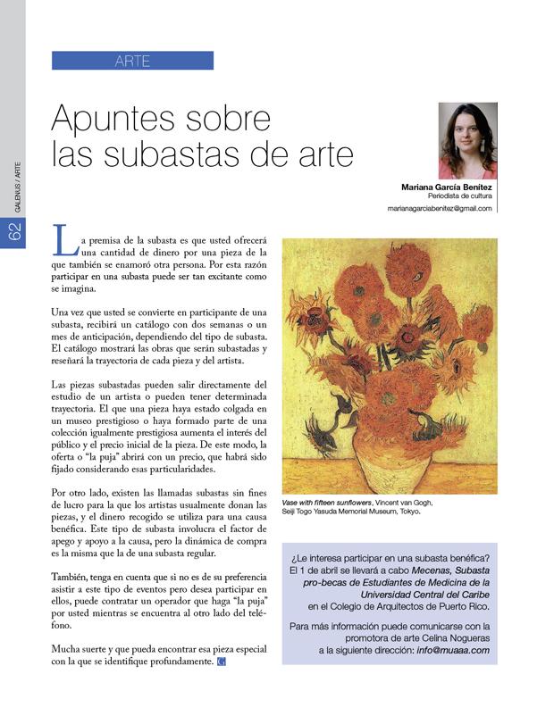 Arte  / Apuntes sobre  las subastas de arte